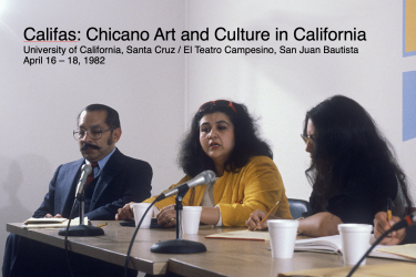 Panel from 1982 Califas Conference with Tomás Ybarra-Frausto and Amalia Mesa-Bains. Photo: Philip Brookman