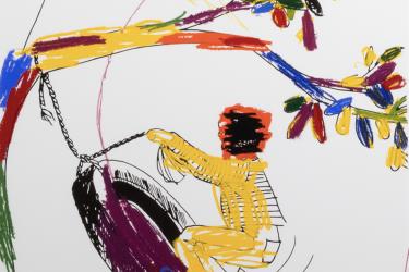 Glenn Ligon, Boy on Tire, 2004, screenprint, 41 x 31 1/2 in.