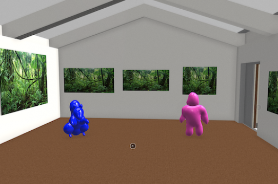 A view of the main gallery of the Sesnon 3D model with placeholder objects to approximate sculptural work. The scale of embedded images and objects can be adjusted; small scale work can be modified to be life-sized, allowing artists more freedom in presenting their work.