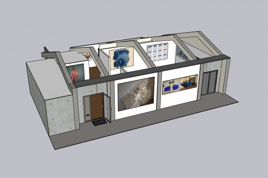 An early model of the Sesnon Gallery with placeholder images from the 2020 Irwin Scholars.