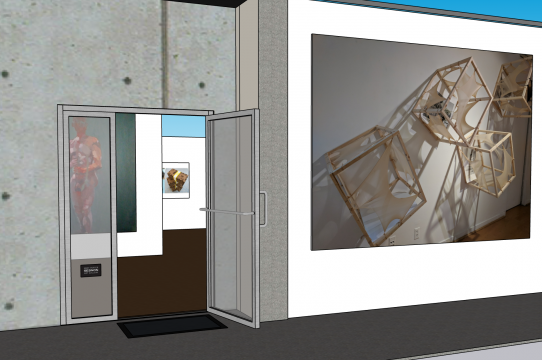 Entrance view of the 3D Sesnon Gallery model with placeholder images of past work by the 2020 Irwin Scholars.