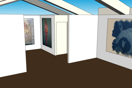 South view of the main gallery of the Sesnon 3D model with placeholder images of past work by 2020 Irwin Scholars.