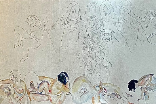A painting of many nude bodies in contortion