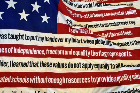 Sharon Daniel, detail of flag from Undoing Time/PLEDGE. 2013