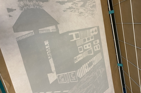 A work in progress relief print by Cassidy Skillman