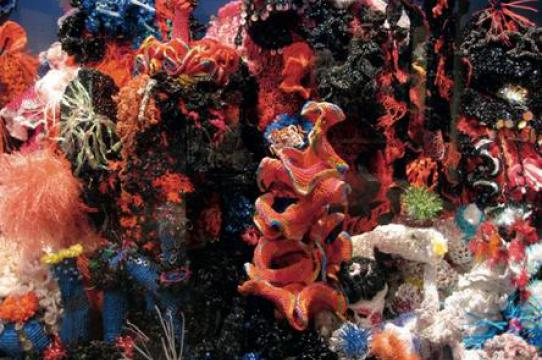 Image of coral reef rendered in crochet