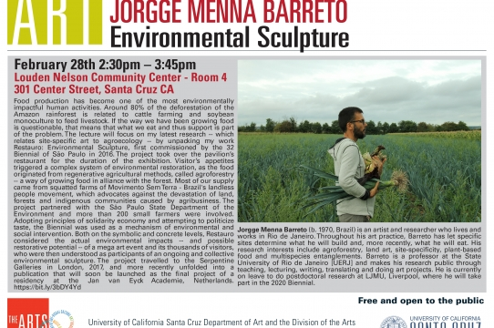 Environmental Art Lecture Series Jorge Menna Barreto
