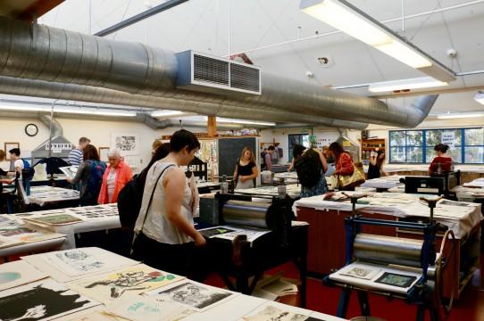 The printmaking studio during Open Studios
