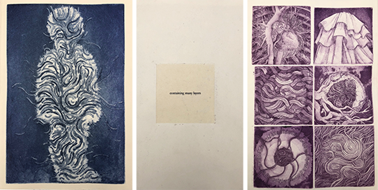 "From ""Strings of Consciousness"", Copper etchings with aquatint printed on japanese paper and bound into an artist book, 7"" x 13"", 15 pages, 2019."