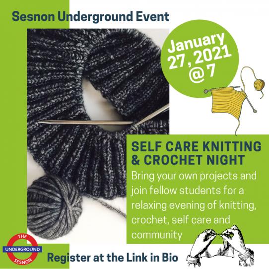 Self Care Knitting & Crocheting Night flyer