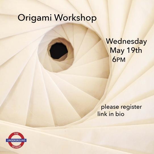 Origami Workshop flyer on Wednesday 5/19/21 via Zoom