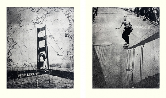 Left to right: TELL ME YOU'RE THE HEART OF THE GOLDEN WEST (2020), CARNAGE ENSUES AT DOLORES HILL BOMB (2020), photobased etchings on rives bfk