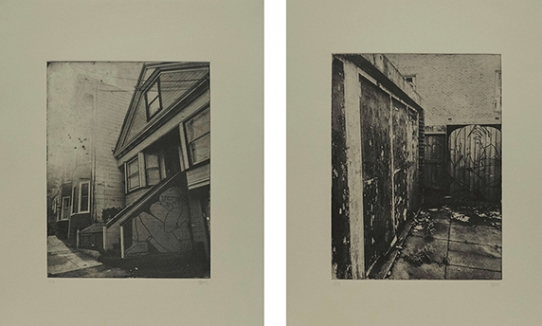 Take Shelter series of photo intaglio prints by Chloe Murr